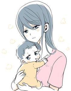 Baby Haru with mum ...  Drawn by uto00rog ... Free! - Iwatobi Swim Club, haruka nanase, haru nanase, haru, nanase, haruka, free!, iwatobi