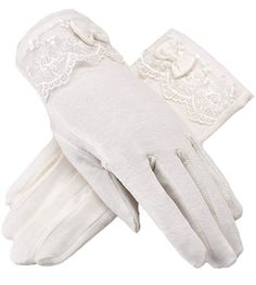 Women Driving Sunscreen Slip Gloves Cotton Gloves Breathable Lace Bow (One size, White): finger Cotton Gloves, Cotton Slip, Lace Gloves, Lace Slip, Women's Gloves, Women Accessories, Fashion Accessories, Gloves Fashion, Vintage Gloves
