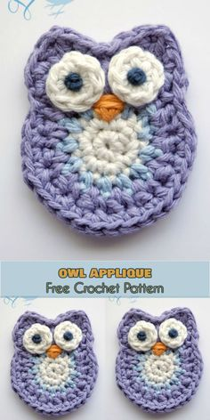 Owl Applique [Free Crochet Pattern]