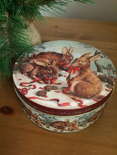 Rabbit Decor Round Metal Tin Season Bunny Decor Storage by SageandDeesVintage #TrendingEtsy