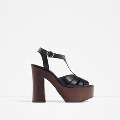 Image 1 of WOODEN PLATFORM LEATHER SANDALS from Zara