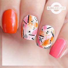 Dry brush nails, neon nails, abstract nail art, bright colours