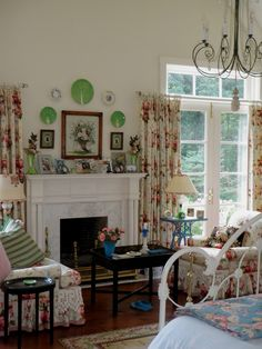 English Cottage Living Room cottage room with amaryllis bulbs on the mantel | living rooms
