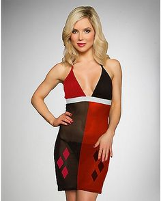 Harley Quinn Chemise with Thong - Spencer's