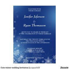 "Cute winter wedding Invitation 5.5"" X 7.5"" Invitation Card"