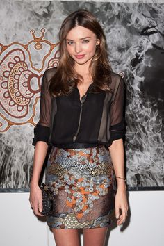 Look of the Day: Miranda Kerr's Brocade Miniskirt