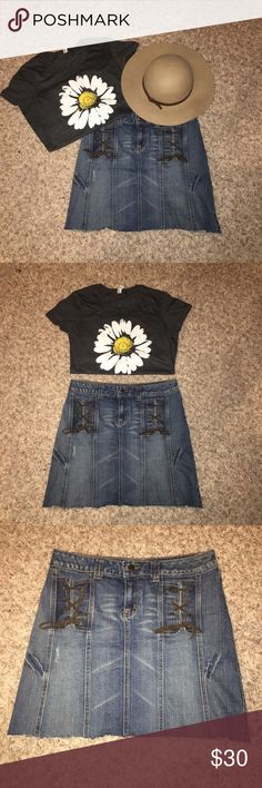 Jean Skirt Repurchased Apt. 9 jean skirt! Adorable tie detail gives this skirt a fun look! I cut this skirt to make it a little shorter! (Flower🌼 shirt for sell in my closet😉) Apt. 9 Skirts