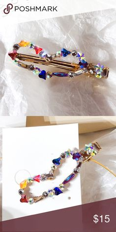 "Heart shaped colorful crystal hair clip NWT length:2.80"" diameter: .91"" Accessories Hair Accessories"