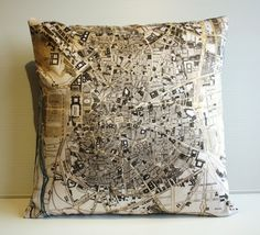 Pillow cover city map MADRID map cushion by mybeardedpigeon, $55.00