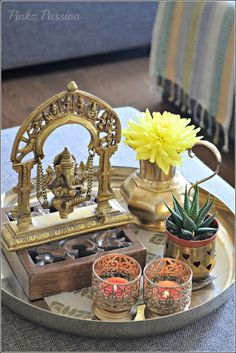 Brass artifacts, Coffee Table vignettes, Ethnic Indian Décor, Indian décor…