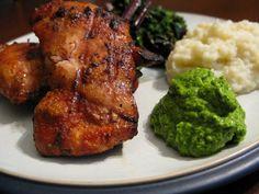 Barbecue Chicken with Arugula Pesto