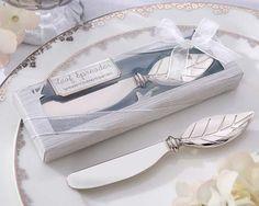 New Arrival Bread Cake Butter Knife Fork Wedding Favor Chrome Leaf Spreader…