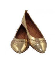 Sapatilha em couro Ouro glitter (Ref 2633) com frete grátis!  (Clique para ver mais.)