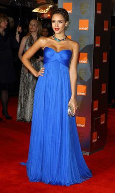 For a formal summer wedding, we love Jessica Albas simple, yet bold blue maxi dress. #SS14