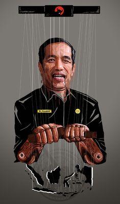 "Edward Ricardo Sianturi: Jokowi as Puppet President ""Presiden Boneka"" Monkey Art, Indonesian Art, Joko, Art Station, Pulp Art, Aesthetic Wallpapers, Caricature, Puppets, Vector Art"