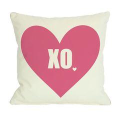OneBellaCasa.com XO with Heart Pillow