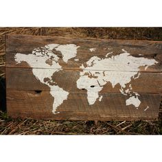 World Map on Reclaimed Wood Small G ($49) ❤ liked on Polyvore featuring home, home decor, wall art, dark olive, home & living, map home decor, reclaimed wood wall art, photo wall art, map wall art and painted wall art