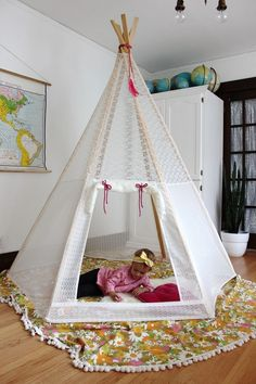 How to make DIY Lace Teepee (A Beautiful Mess)