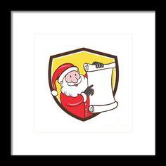 Santa Claus Paper Scroll Pointing Shield Cartoon Framed Print By Aloysius Patrimonio