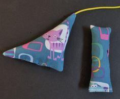 Cat Toys Aqua Purple Modern Cat Print Organic Catnip Set of Two Mouse Toy Gift