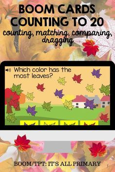Number Sense is so important for the foundation of math literacy! Give your students practice time using these digital task cards. Boom Cards™ are so fun for little ones! This set of Boom Cards is all about math with leaves. Students will be counting, matching, comparing, and dragging leaves in the slides.Boom Cards require No Prep (except adding your class)! These digital task cards are perfect for online learning or in-class activities!