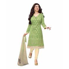 Buy Green Chanderi cotton Embroidered Designer Churidar Suit by  Louis Vogue, on Paytm, Price: Rs.849?utm_medium=pintrest