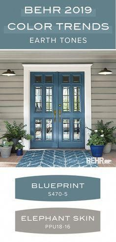 Earth tone paint color palette from the Behr 2019 Color Trends collection. Behr 2019 Color of the Year: Blueprint. This modern blue hue is a great, bold accent color as seen on this front door. Elephant Skin is a light neutral gray Exterior Paint Colors For House, Paint Colors For Home, Wall Exterior, Exterior Siding, Cottage Paint Colors, Gray Siding, Front Door Paint Colors, Blue Front Doors, Outdoor House Colors