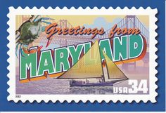 USPS Greetings From Maryland Postcard