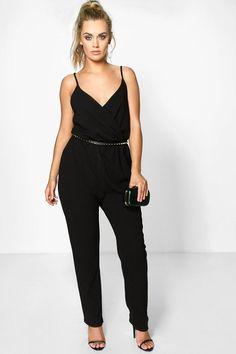 ashley stewart women's plus size color block jumpsuit black/white