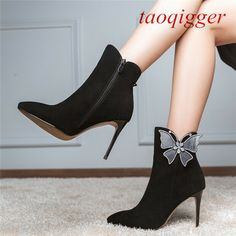 f684d9f2f (eBay Advertisement) New Occident Women Pointed toe Butterfly Rhinestone  shoes Side zip Suede boots
