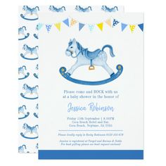 Baby shower blue rocking horse invitations Custom invitations - Make your special day with these personalized change the colors font and images and make them your own. Horse Baby Showers, Baby Boy Shower, Watercolor Horse, Birthday Thank You, Baby Shower Invitations For Boys, Colored Envelopes, Baby Design, Custom Invitations, Valentine Gifts