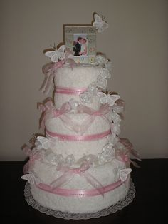 Image detail for -Tier Wedding Towel Cake – Elegant Wedding / Bridal Shower Gift