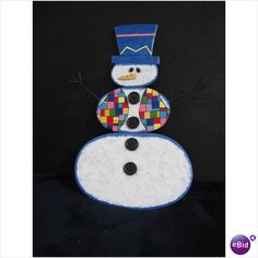 Whimsical Snowman Painted on Wood by Annie Zeno