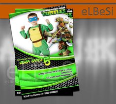 Ninja Turtle Birthday Invitation with photos - Invitation Card