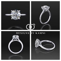 DBK Classic Round Solitaire Engagement Ring with by DesignsByKamni