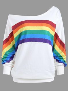 Plus Size One Shoulder Rainbow Print Top