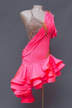 eDanceMarket - Buy and rent dancewear. Ruffle Skirt, Ruffles, Coral Fabric, Draped Fabric, Gold Lace, Lace Insert, Horse Hair, Coral Pink, Lace Applique