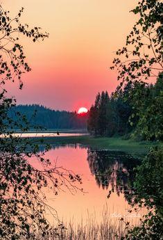 ***Summer sunset (Finland) by Asko Kuittinen // Kesän auringonlasku (Suomi) ss. Beautiful Nature Pictures, Nature Photos, Beautiful World, Beautiful Places, Amazing Nature, Landscape Pictures, Landscape Art, Landscape Paintings, Sunset Photography