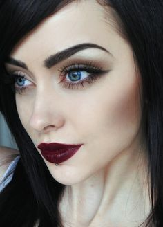 amazing, blue eyes, brunette, dark, dark hair, eyebrows, eyes, fashion, lips, lipstick, make up, piercing, style