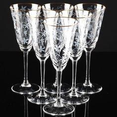 6 Vintage Sektgläser Spiegelau Rüdesheim Goldrand Weinlaub Ätzdekor Glas 50er F