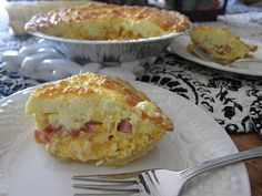 Easy ham and cheese quiche: cook diced ham and onions gently first, pour eggs and cream on top, then add grated cheese.