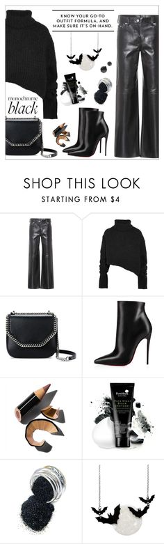 """Monochrome: All Black Everything"" by amchavesj-1 ❤ liked on Polyvore featuring Calvin Klein 205W39NYC, Ann Demeulemeester, STELLA McCARTNEY, Christian Louboutin, Bobbi Brown Cosmetics, Erstwilder and allblack"