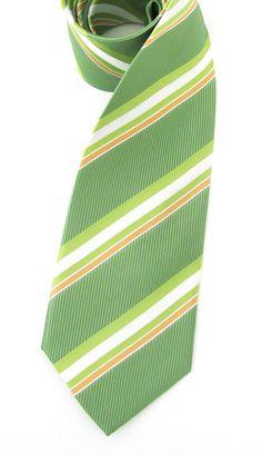 Necktie Green and White Stripes Silk Tie