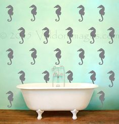 Seahorse pattern wall decal nautical wall decal by ValdonImages #newhome #summer