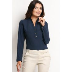 Looking for Long Sleeve Tops? Call off the search with our Navy Blue Long Sleeve V Neck Shirt. Shop unique fashion at SilkFred Coco Fashion, Unique Fashion, Blouse Outfit, Blue Blouse, Clothing Websites, Office Fashion, Running Women, Work Wear, Shirt Style