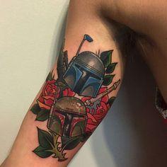 Star Wars Boba Fett tattoo Done by Joshua Ross at Minds Eye, PA.
