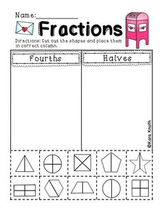Fractions in First Grade - great worksheet pages that practice ...