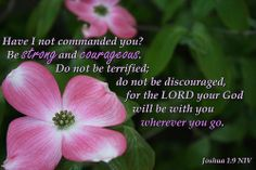 """""""Have I not commanded you? Be strong and courageous.  Do not be terrified; do not be discouraged, for the LORD your God will be with you wherever you go.""""  Joshua 1:9 (by b4b2, via Flickr)"""