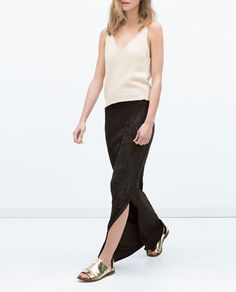 WASHED-EFFECT LONG SKIRT