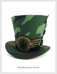 Tiny Top Hat  Camo / Military  Mini Top Hat by BonnieMadeDesigns